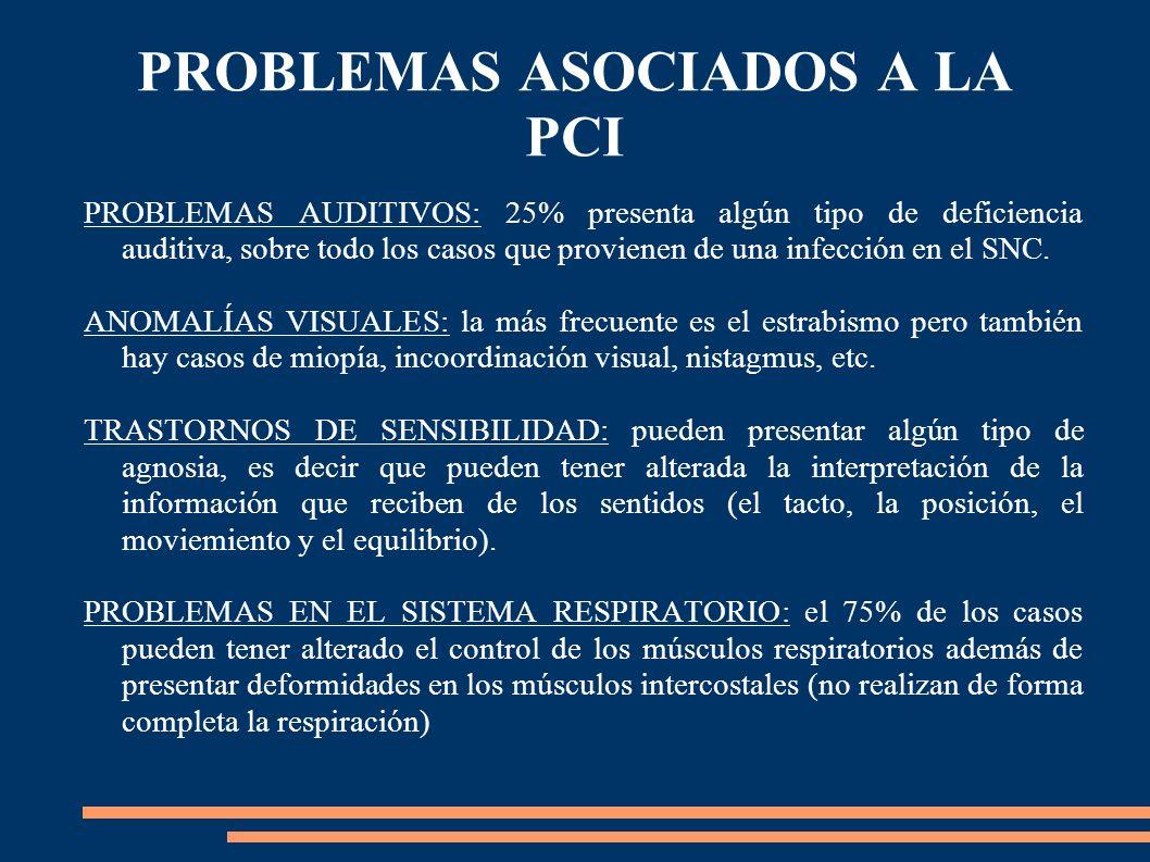 PROBLEMAS ASOCIADOS A LA PCI PROBLEMAS AUDITIVOS: 25% presenta algún tipo de deficiencia auditiva, sobre todo los casos que provienen de una infección