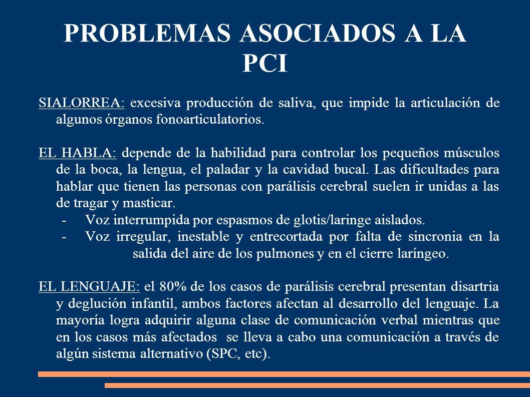 PROBLEMAS ASOCIADOS A LA PCI SIALORREA: excesiva producción de saliva, que impide la articulación de algunos órganos fonoarticulatorios. EL HABLA: dep