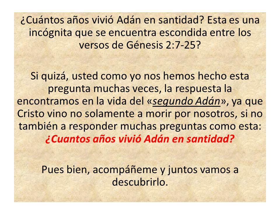 ¿Cuántos años vivió Adán en santidad? Esta es una incógnita que se encuentra escondida entre los versos de Génesis 2:7-25? Si quizá, usted como yo nos