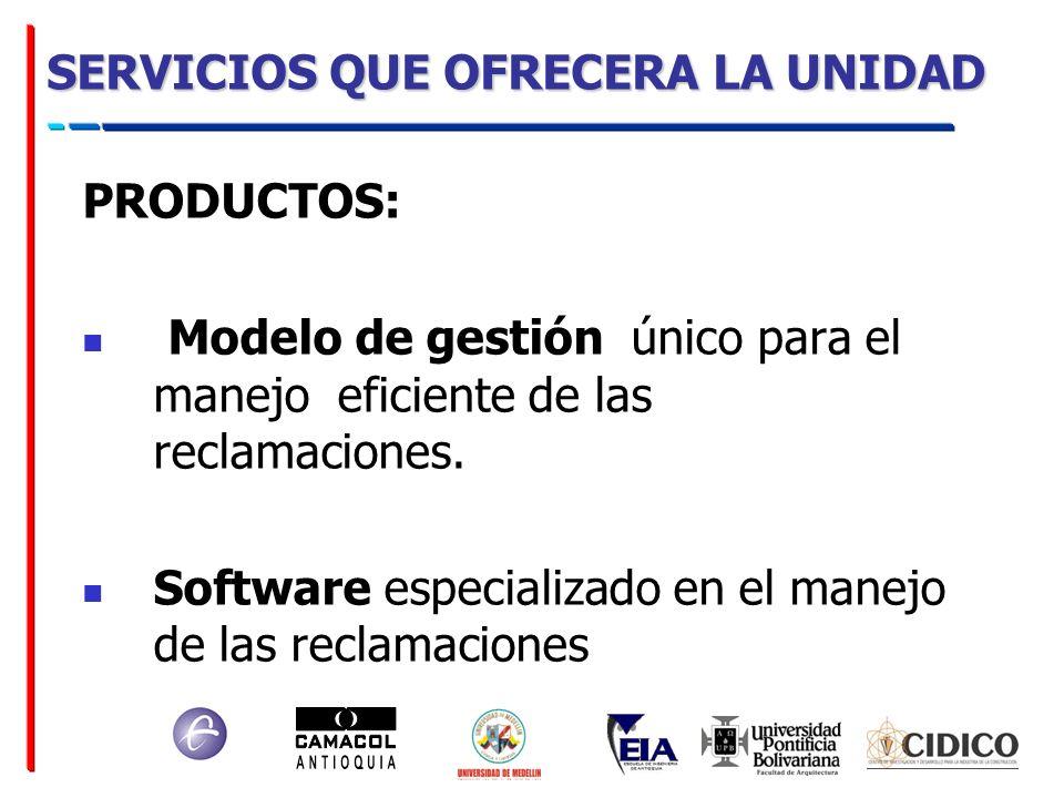 SERVICIOS QUE OFRECERA LA UNIDAD PRODUCTOS: Modelo de gestión único para el manejo eficiente de las reclamaciones. Software especializado en el manejo