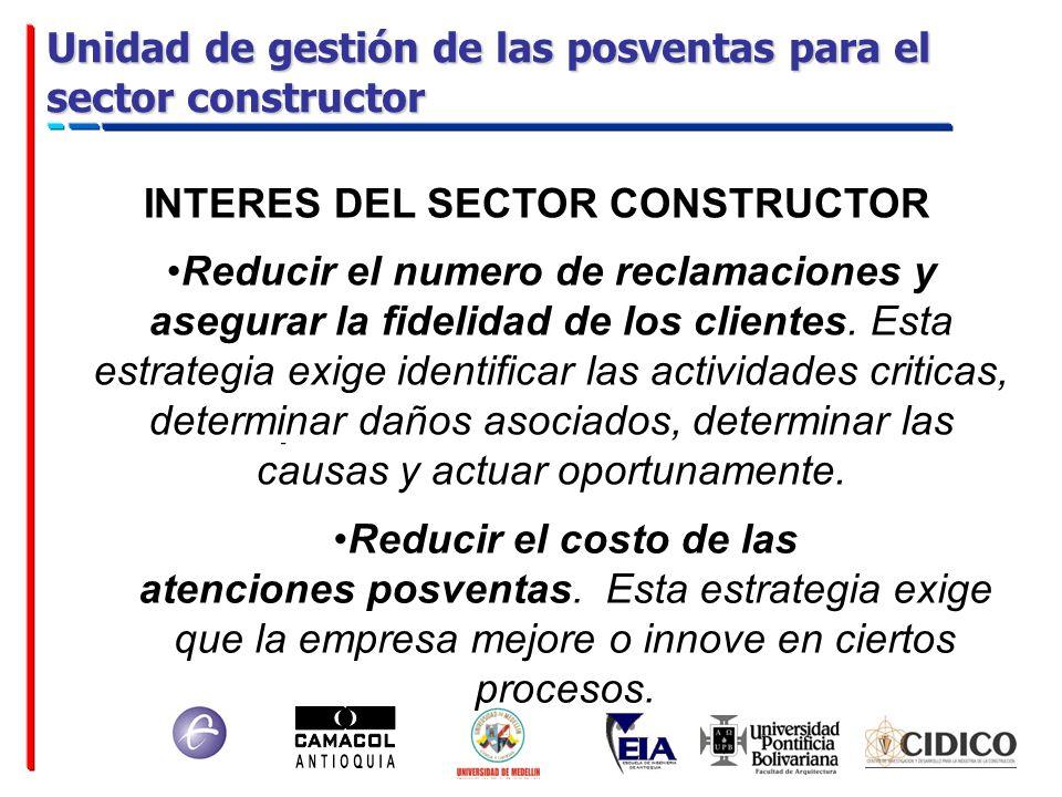 Unidad de gestión de las posventas para el sector constructor INTERES DEL SECTOR CONSTRUCTOR Reducir el numero de reclamaciones y asegurar la fidelida