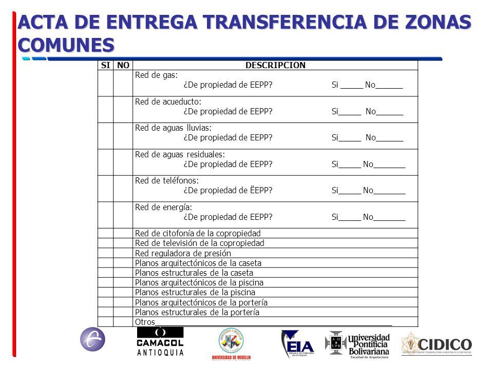 ACTA DE ENTREGA TRANSFERENCIA DE ZONAS COMUNES SINODESCRIPCION Red de gas: ¿De propiedad de EEPP? Si _____ No______ Red de acueducto: ¿De propiedad de