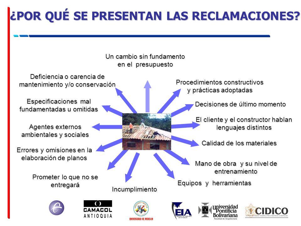 Calidad de los materiales Agentes externos ambientales y sociales Procedimientos constructivos y prácticas adoptadas Equipos y herramientas Mano de ob