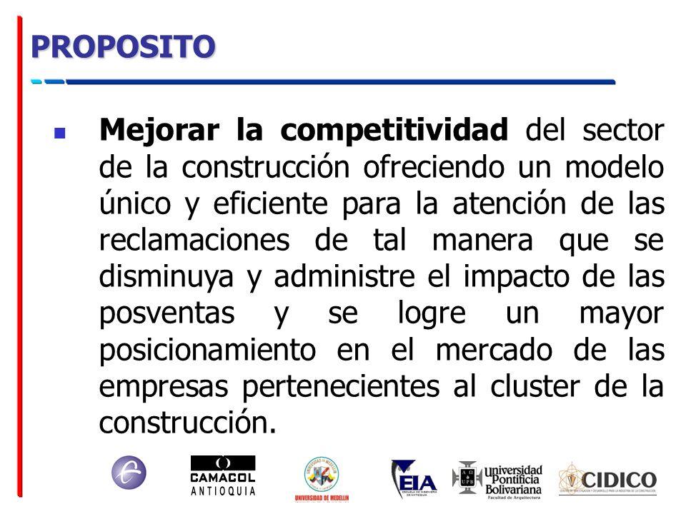 PROPOSITO Mejorar la competitividad del sector de la construcción ofreciendo un modelo único y eficiente para la atención de las reclamaciones de tal
