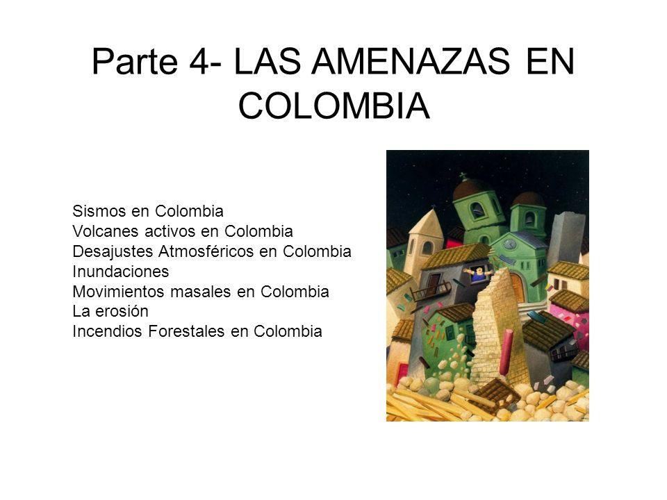 Sismos en Colombia Volcanes activos en Colombia Desajustes Atmosféricos en Colombia Inundaciones Movimientos masales en Colombia La erosión Incendios