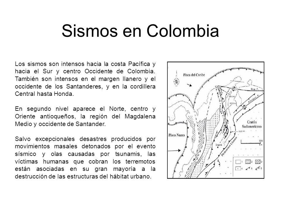 Sismos en Colombia Los sismos son intensos hacia la costa Pacífica y hacia el Sur y centro Occidente de Colombia. También son intensos en el margen ll