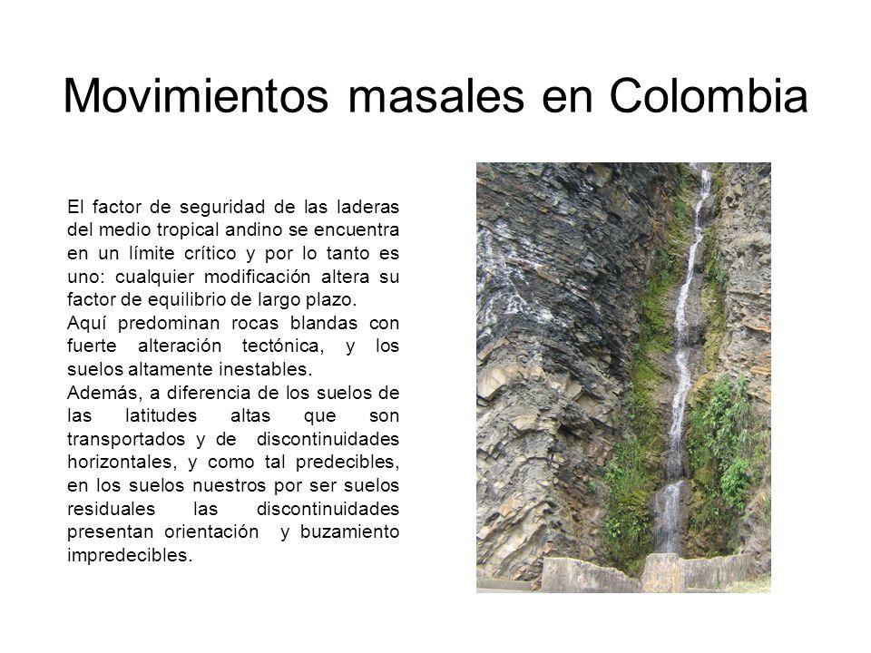 Movimientos masales en Colombia El factor de seguridad de las laderas del medio tropical andino se encuentra en un límite crítico y por lo tanto es un