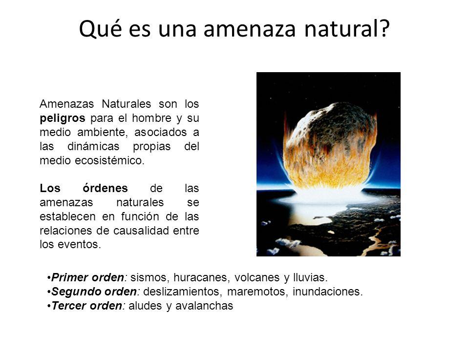Amenazas Naturales son los peligros para el hombre y su medio ambiente, asociados a las dinámicas propias del medio ecosistémico. Los órdenes de las a