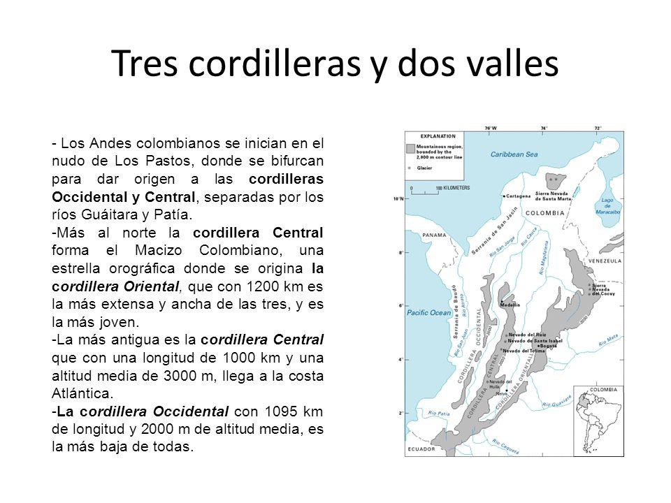 Tres cordilleras y dos valles - Los Andes colombianos se inician en el nudo de Los Pastos, donde se bifurcan para dar origen a las cordilleras Occiden