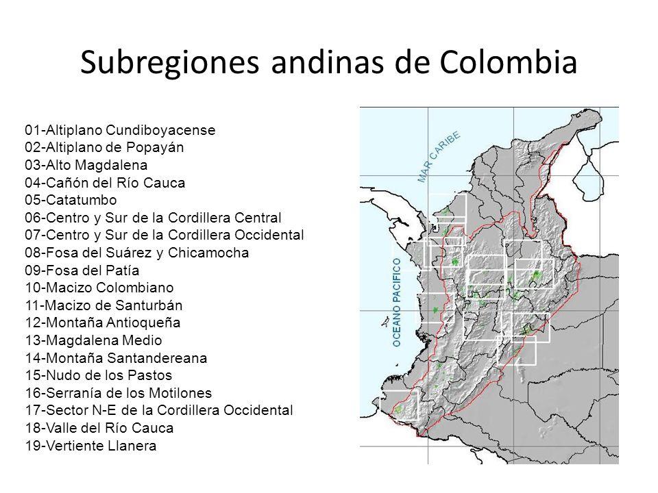 01-Altiplano Cundiboyacense 02-Altiplano de Popayán 03-Alto Magdalena 04-Cañón del Río Cauca 05-Catatumbo 06-Centro y Sur de la Cordillera Central 07-