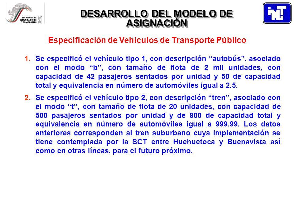DESARROLLO DEL MODELO DE ASIGNACIÓN Especificación de Vehículos de Transporte Público 1.Se especificó el vehículo tipo 1, con descripción autobús, aso