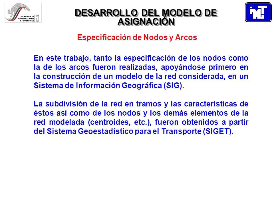 DESARROLLO DEL MODELO DE ASIGNACIÓN Especificación de Nodos y Arcos En este trabajo, tanto la especificación de los nodos como la de los arcos fueron