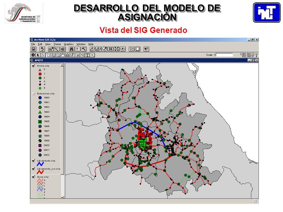 DESARROLLO DEL MODELO DE ASIGNACIÓN Vista del SIG Generado