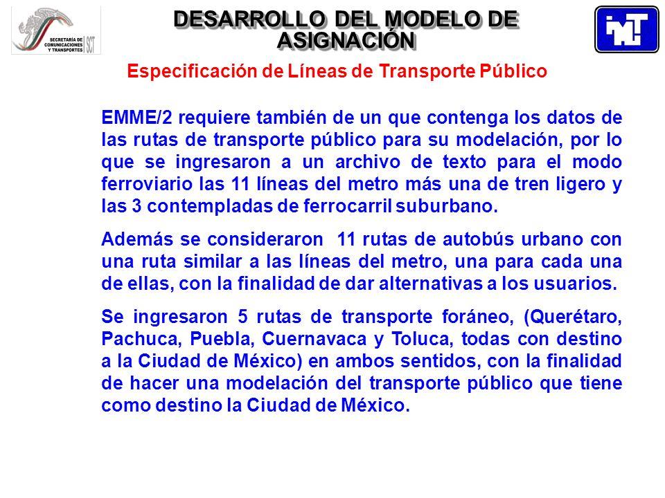 DESARROLLO DEL MODELO DE ASIGNACIÓN Especificación de Líneas de Transporte Público EMME/2 requiere también de un que contenga los datos de las rutas d