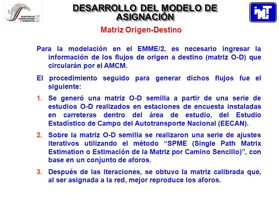 DESARROLLO DEL MODELO DE ASIGNACIÓN Matriz Origen-Destino Para la modelación en el EMME/2, es necesario ingresar la información de los flujos de orige