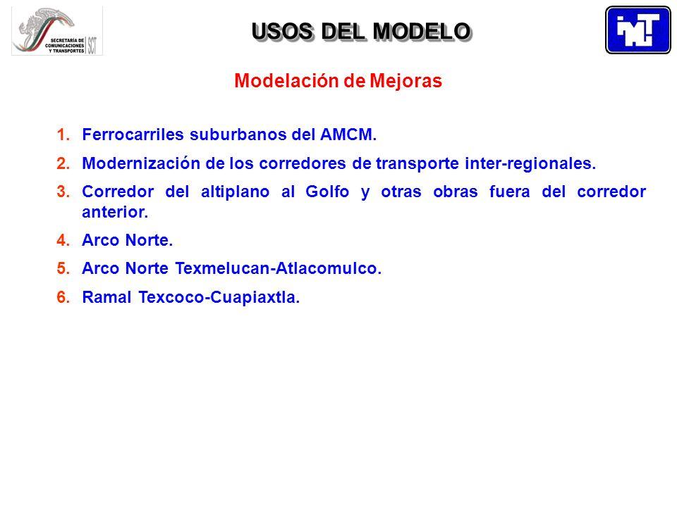 USOS DEL MODELO Modelación de Mejoras 1.Ferrocarriles suburbanos del AMCM. 2.Modernización de los corredores de transporte inter-regionales. 3.Corredo