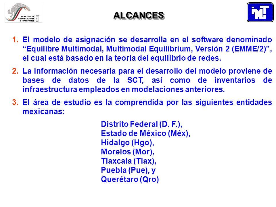 ALCANCESALCANCES 1.El modelo de asignación se desarrolla en el software denominado Equilibre Multimodal, Multimodal Equilibrium, Versión 2 (EMME/2), e