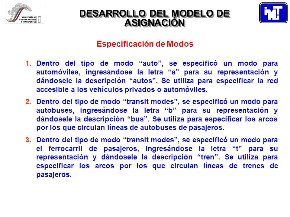 DESARROLLO DEL MODELO DE ASIGNACIÓN Especificación de Modos 4.Dentro del tipo de modo auxiliary transit modes se especificó un modo para los peatones, ingresándose la letra p para su representación y dándosele la descripción peaton.