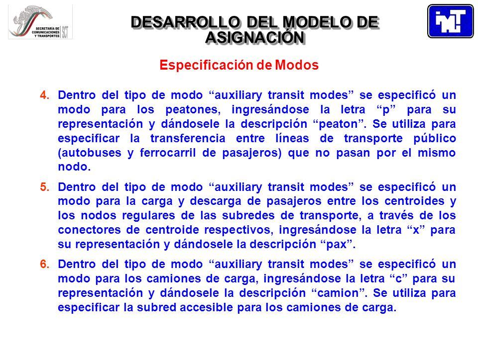 DESARROLLO DEL MODELO DE ASIGNACIÓN Especificación de Modos 4.Dentro del tipo de modo auxiliary transit modes se especificó un modo para los peatones,