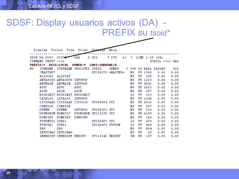 Capítulo 06 JCL y SDSF 29 SDSF: Display usuarios activos (DA) - PREFIX su tsoid*