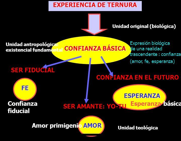 EXPERIENCIA DE TERNURA CONFIANZA BÁSICA SER FIDUCIAL CONFIANZA EN EL FUTURO SER AMANTE: YO-TU FE ESPERANZA AMOR Confianza fiducial Amor primigenio Esp