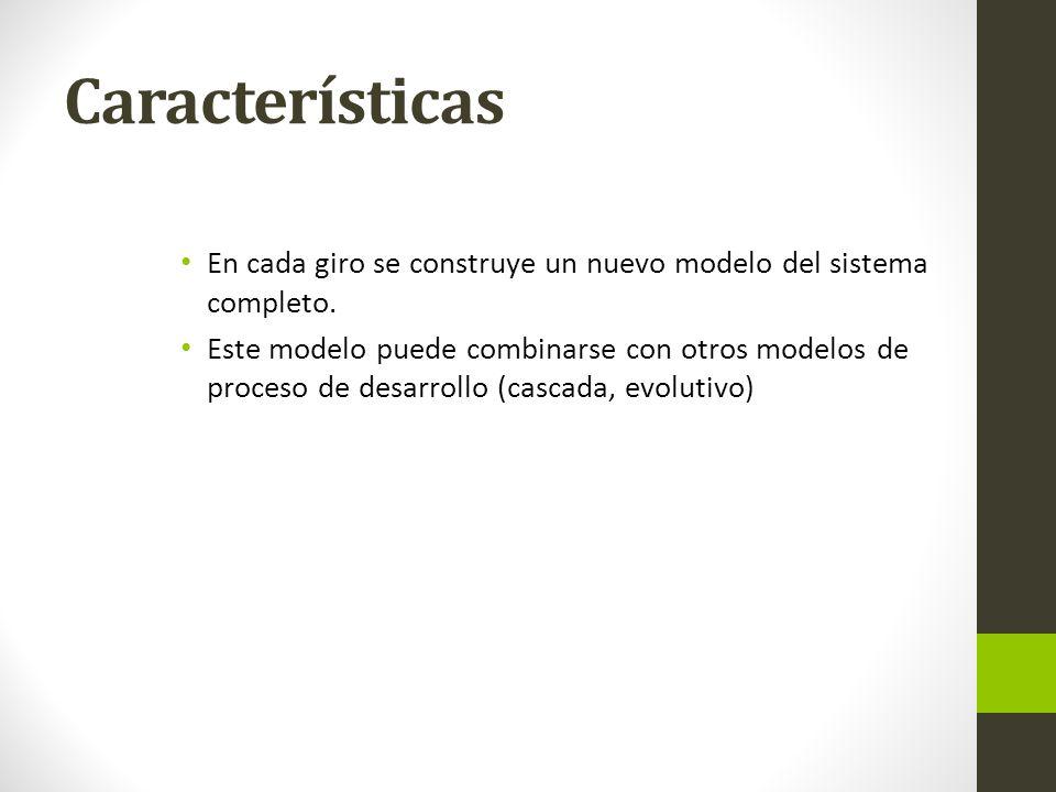 Características En cada giro se construye un nuevo modelo del sistema completo. Este modelo puede combinarse con otros modelos de proceso de desarroll