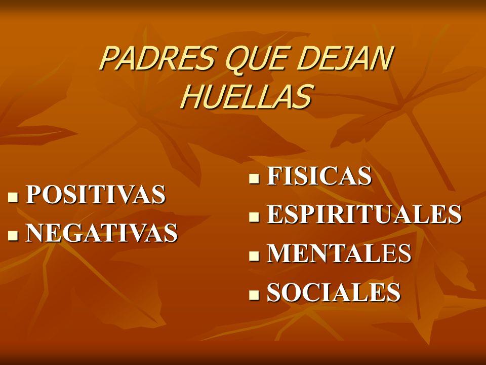 PADRES QUE DEJAN HUELLAS POSITIVAS POSITIVAS NEGATIVAS NEGATIVAS FISICAS FISICAS ESPIRITUALES ESPIRITUALES MENTALES MENTALES SOCIALES SOCIALES
