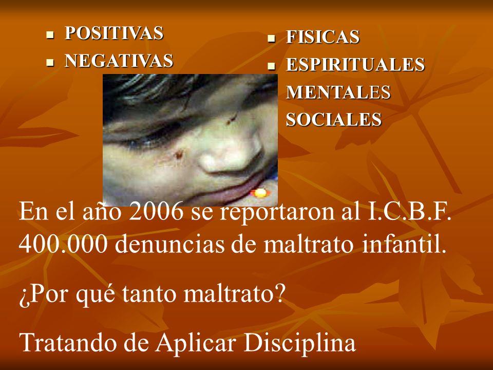 FISICAS FISICAS ESPIRITUALES ESPIRITUALES MENTALES MENTALES SOCIALES SOCIALES POSITIVAS POSITIVAS NEGATIVAS NEGATIVAS En el año 2006 se reportaron al