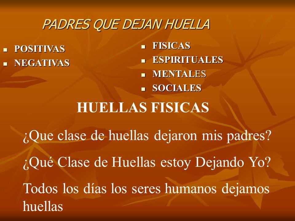 PADRES QUE DEJAN HUELLA POSITIVAS POSITIVAS NEGATIVAS NEGATIVAS FISICAS FISICAS ESPIRITUALES ESPIRITUALES MENTALES MENTALES SOCIALES SOCIALES HUELLAS