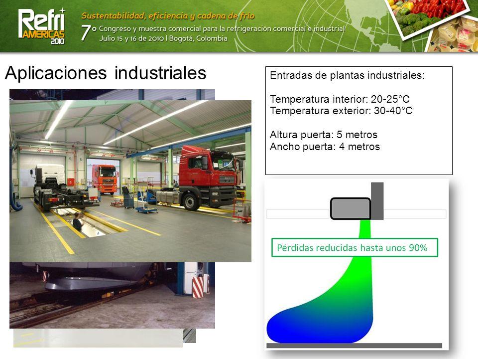 13/07/10 Aplicaciones industriales Entradas de plantas industriales: Temperatura interior: 20-25°C Temperatura exterior: 30-40°C Altura puerta: 5 metr