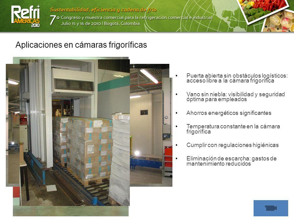 13/07/10 Aplicaciones en cámaras frigoríficas Puerta abierta sin obstáculos logísticos: acceso libre a la cámara frigorífica Vano sin niebla: visibili