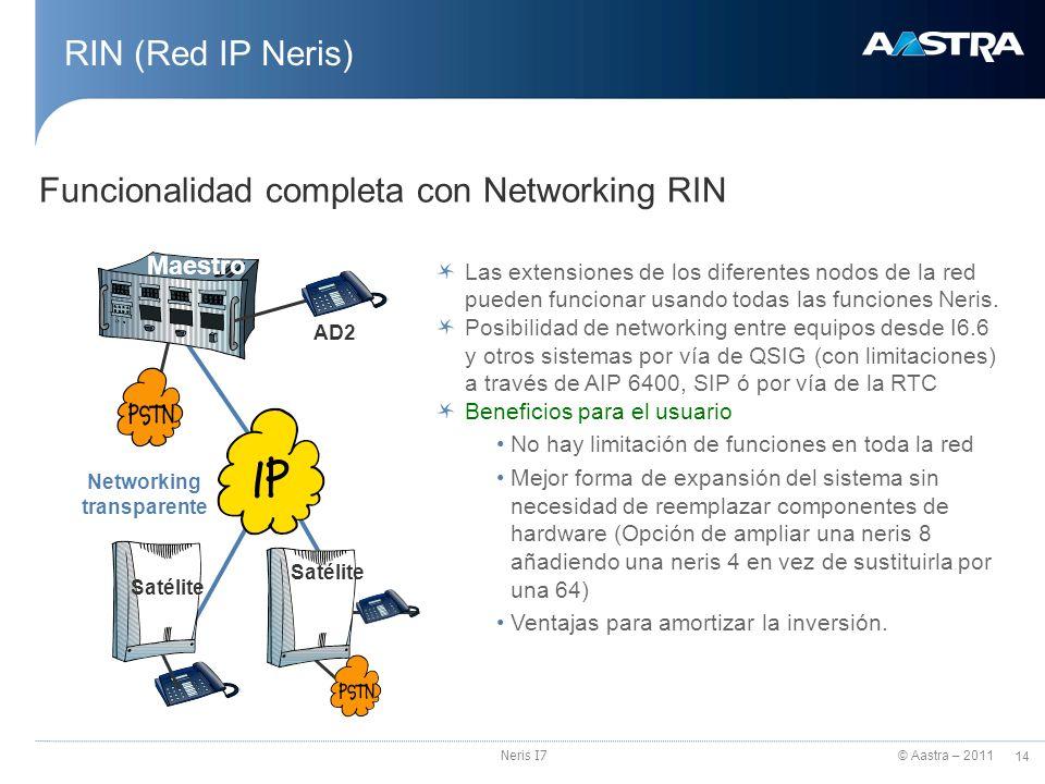 © Aastra – 2011 14 Neris I7 RIN (Red IP Neris) Funcionalidad completa con Networking RIN Las extensiones de los diferentes nodos de la red pueden func