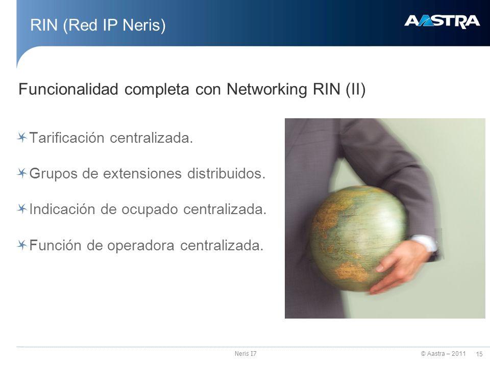 © Aastra – 2011 15 Neris I7 RIN (Red IP Neris) Tarificación centralizada. Grupos de extensiones distribuidos. Indicación de ocupado centralizada. Func