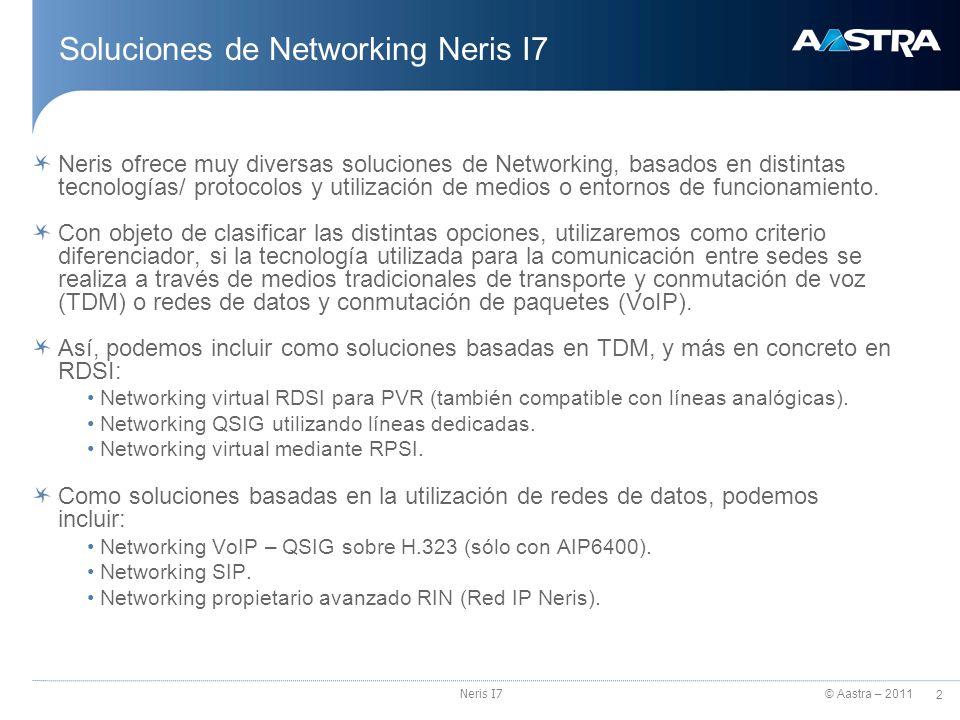© Aastra – 2011 2 Neris I7 Soluciones de Networking Neris I7 Neris ofrece muy diversas soluciones de Networking, basados en distintas tecnologías/ pro