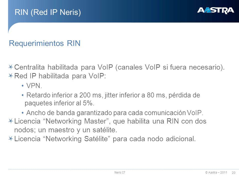 © Aastra – 2011 20 Neris I7 RIN (Red IP Neris) Requerimientos RIN Centralita habilitada para VoIP (canales VoIP si fuera necesario). Red IP habilitada