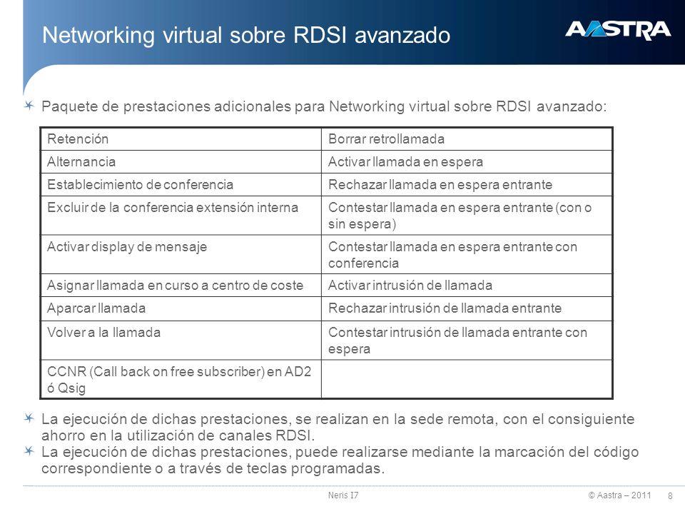 © Aastra – 2011 9 Neris I7 Requisitos Networking virtual RDSI Networking virtual RDSI básico (solución gratuita para el cliente PVR): DDI exclusivo en cada sede para la implementación de la funcionalidad.