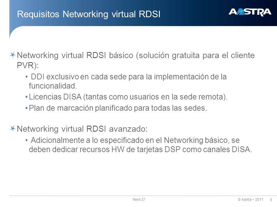 © Aastra – 2011 10 Neris I7 Plan de numeración para Networking virtual sobre RDSI Programación: Plan de numeración definido Para cada sede se define la extensiones internas y las extensiones DISA según el plan de numeración corporativo diseñado para todas las sedes.