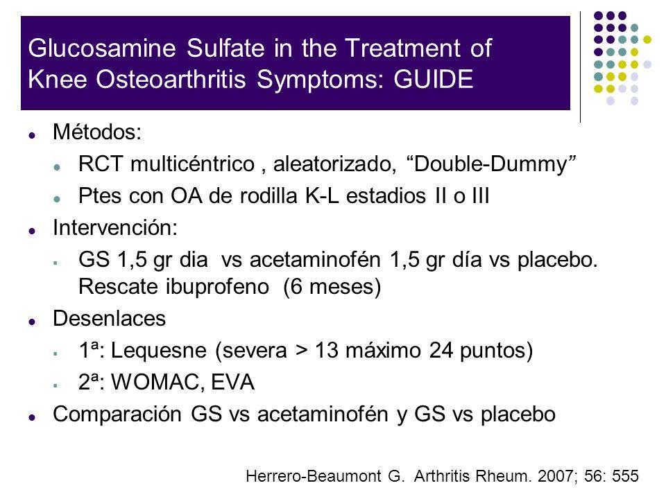 Glucosamine Sulfate in the Treatment of Knee Osteoarthritis Symptoms: GUIDE Métodos: RCT multicéntrico, aleatorizado, Double-Dummy Ptes con OA de rodi