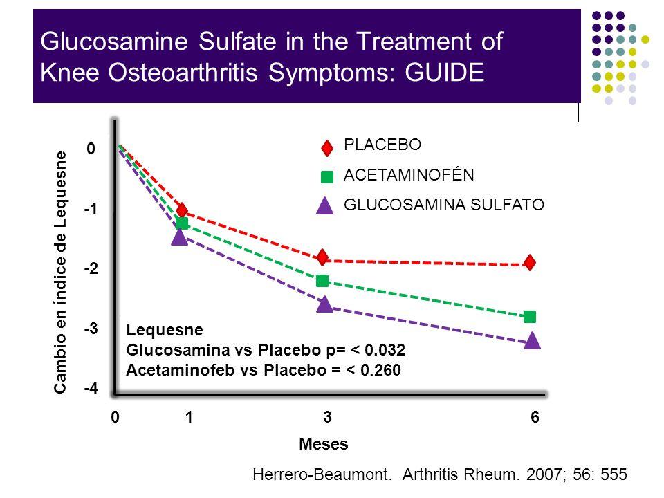 Glucosamine Sulfate in the Treatment of Knee Osteoarthritis Symptoms: GUIDE Herrero-Beaumont. Arthritis Rheum. 2007; 56: 555 0 -2 -3 -4 0 1 3 6 Meses