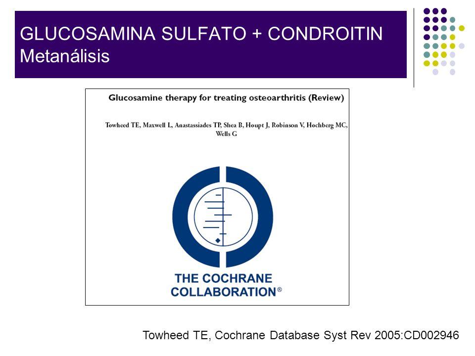 GLUCOSAMINA SULFATO + CONDROITIN Metanálisis Towheed TE, Cochrane Database Syst Rev 2005:CD002946