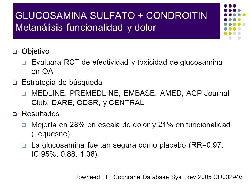 GLUCOSAMINA SULFATO + CONDROITIN Metanálisis funcionalidad y dolor Objetivo Evaluara RCT de efectividad y toxicidad de glucosamina en OA Estrategia de