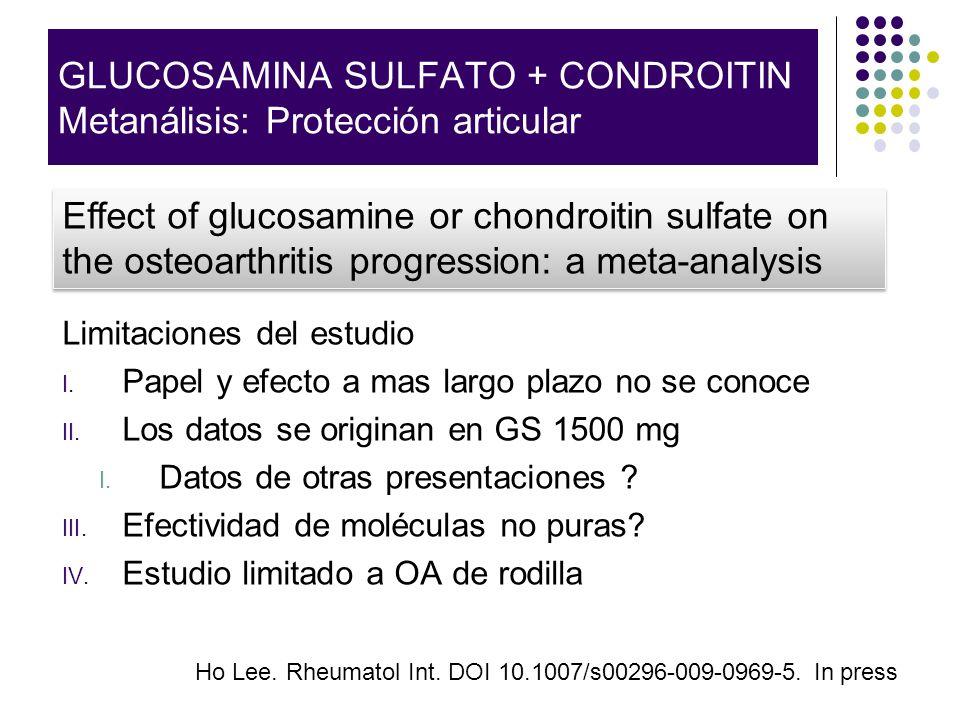 Limitaciones del estudio I. Papel y efecto a mas largo plazo no se conoce II. Los datos se originan en GS 1500 mg I. Datos de otras presentaciones ? I