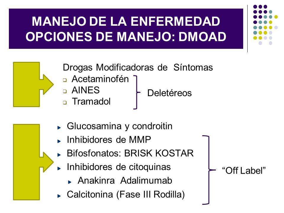 MANEJO DE LA ENFERMEDAD OPCIONES DE MANEJO: DMOAD Glucosamina y condroitin Inhibidores de MMP Bifosfonatos: BRISK KOSTAR Inhibidores de citoquinas Ana