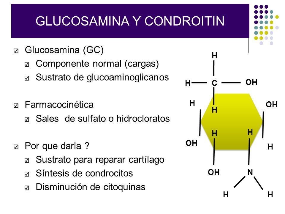GLUCOSAMINA Y CONDROITIN Glucosamina (GC) Componente normal (cargas) Sustrato de glucoaminoglicanos Farmacocinética Sales de sulfato o hidrocloratos P