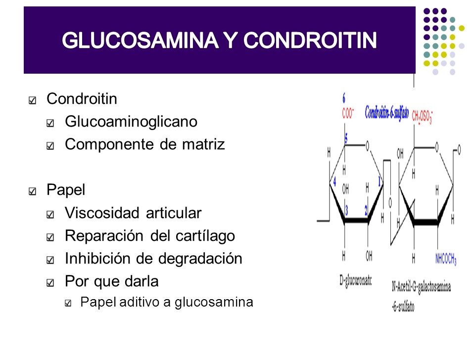 GLUCOSAMINA SULFATO + CONDROITIN Metanálisis funcionalidad y dolor Objetivo Evaluara RCT de efectividad y toxicidad de glucosamina en OA Estrategia de búsqueda MEDLINE, PREMEDLINE, EMBASE, AMED, ACP Journal Club, DARE, CDSR, y CENTRAL Resultados Mejoría en 28% en escala de dolor y 21% en funcionalidad (Lequesne) La glucosamina fue tan segura como placebo (RR=0.97, IC 95%, 0.88, 1.08) Towheed TE, Cochrane Database Syst Rev 2005:CD002946
