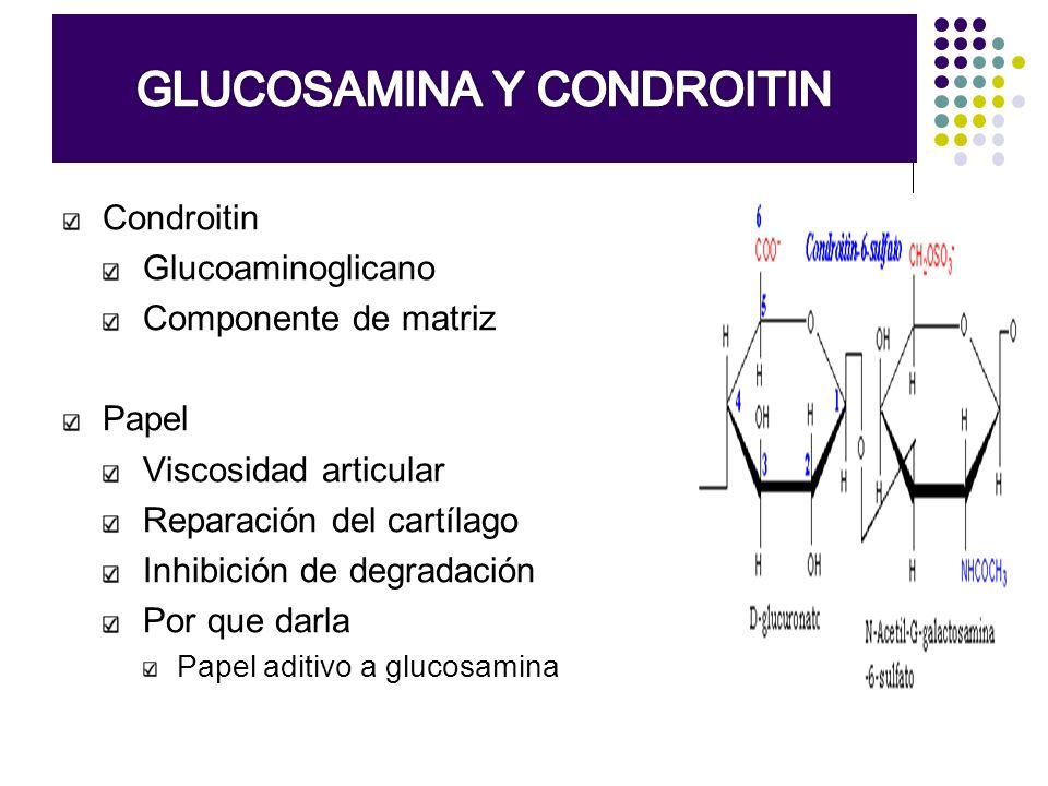 Condroitin Glucoaminoglicano Componente de matriz Papel Viscosidad articular Reparación del cartílago Inhibición de degradación Por que darla Papel ad