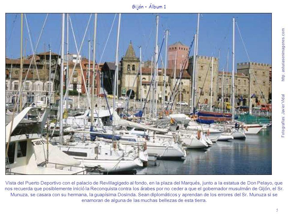 5 Gijón - Álbum 1 Fotografías: Javier Vidal http: asturiasenimagenes.com Vista del Puerto Deportivo con el palacio de Revillagigedo al fondo, en la pl