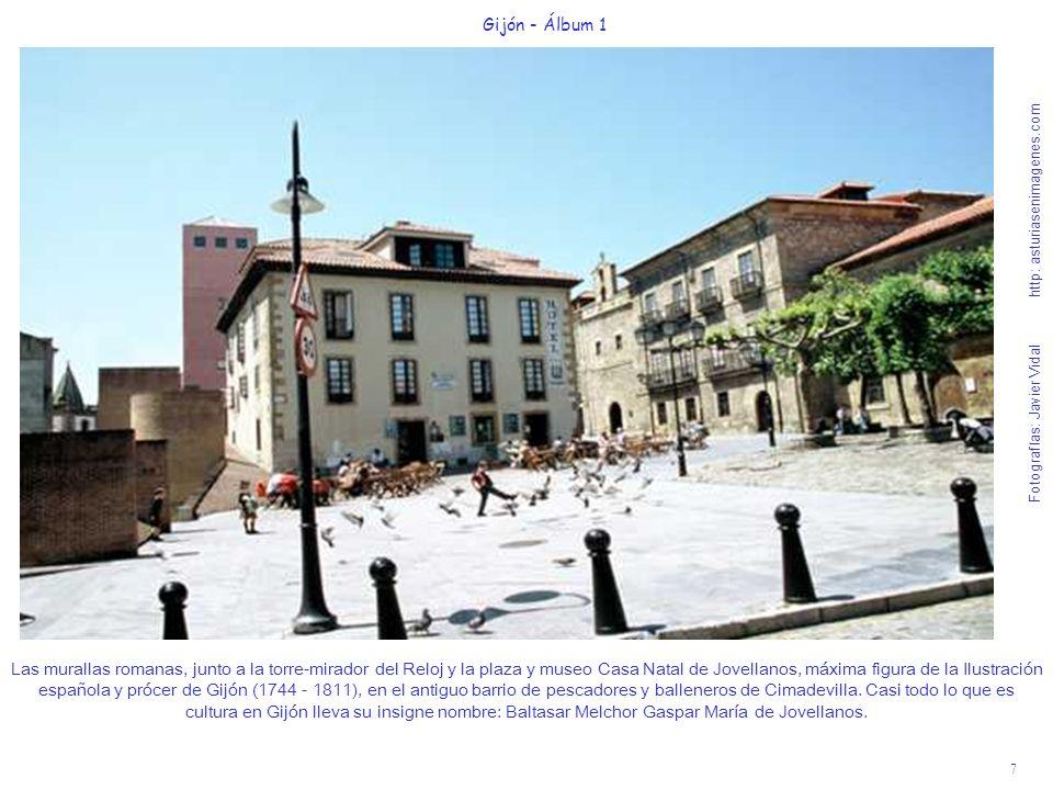 7 Gijón - Álbum 1 Fotografías: Javier Vidal http: asturiasenimagenes.com Las murallas romanas, junto a la torre-mirador del Reloj y la plaza y museo C