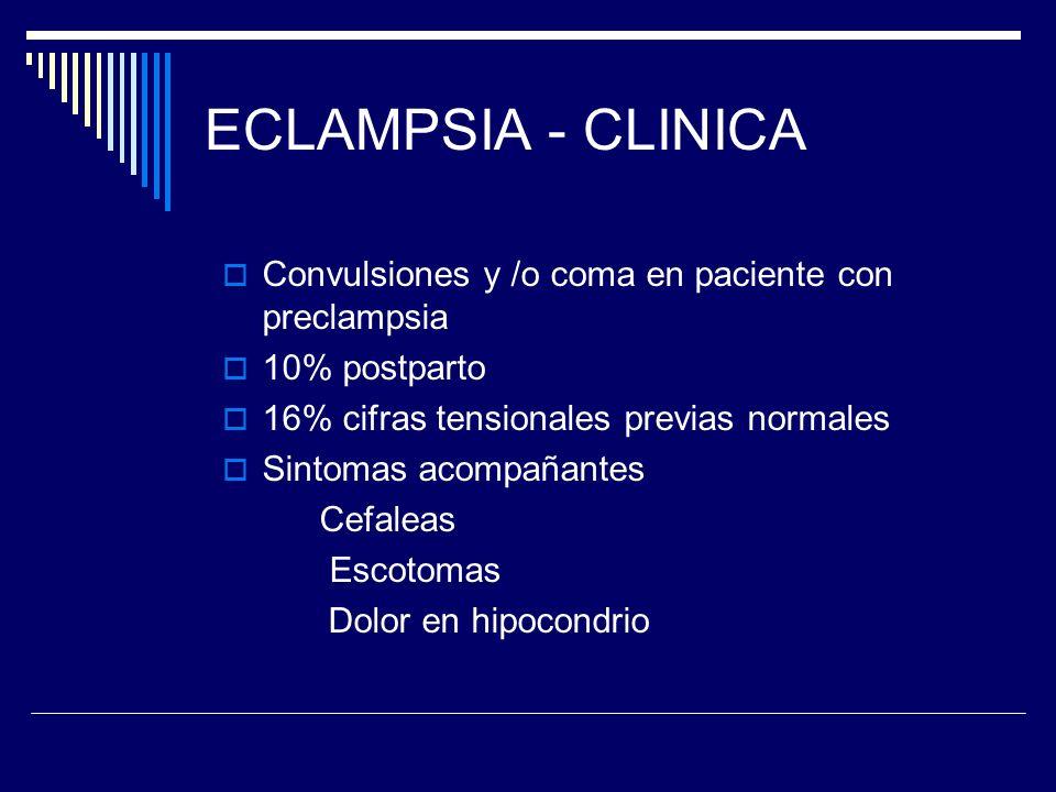 ECLAMPSIA - CLINICA Convulsiones y /o coma en paciente con preclampsia 10% postparto 16% cifras tensionales previas normales Sintomas acompañantes Cef