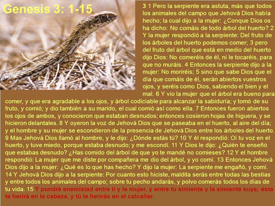 3 1 Pero la serpiente era astuta, más que todos los animales del campo que Jehová Dios había hecho; la cual dijo a la mujer: ¿Conque Dios os ha dicho: